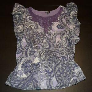 Apt 9 purple paisley top womens Medium